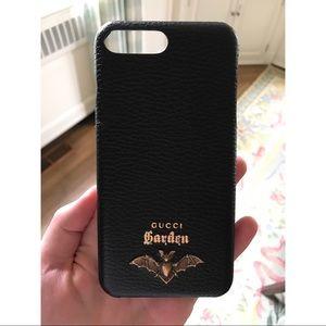 Black Leather Gucci Garden iPhone 7/8 Plus Case